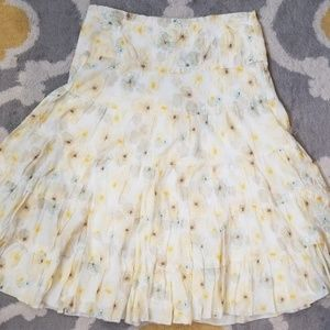 Studio M yellow white tiered skirt